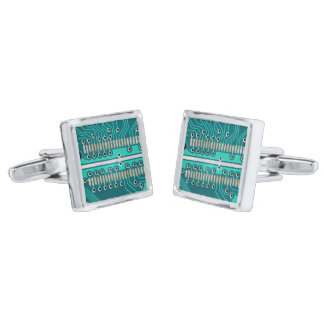 Blue Green Circuit Board - Electronics Photography Cufflinks