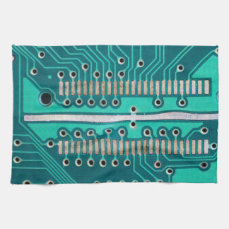 Blue Green Circuit Board - Electronics Photography Kitchen Towel