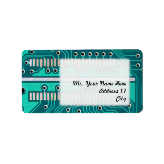 Blue Green Circuit Board - Electronics Photography Label