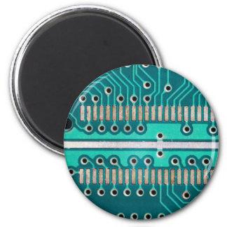 Blue Green Circuit Board - Electronics Photography Fridge Magnet