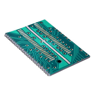 Blue Green Circuit Board - Electronics Photography Notebook