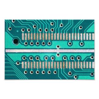 Blue Green Circuit Board - Electronics Photography Photo Print