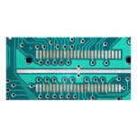 Blue Green Circuit Board - Electronics Photography Photo Cards