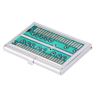 Blue Green Circuit Board - Electronics Photography Case For Business Cards