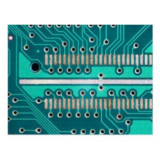 Blue Green Circuit Board - Electronics Photography Postcard