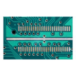 Blue Green Circuit Board - Electronics Photography Poster