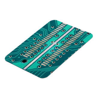 Blue Green Circuit Board - Electronics Photography Rectangular Magnets