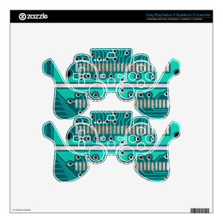 Blue Green Circuit Board - Electronics Photography PS3 Controller Skins