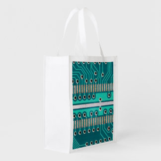 Blue Green Circuit Board - Electronics Photography Market Tote