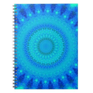 Blue Green Circular Psychedelic Hip Design Spiral Notebook