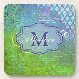 Blue Green Collage Monogram Coaster