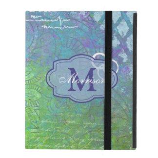 Blue Green Collage Monogram iPad Case