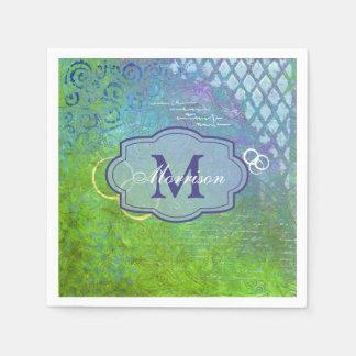 Blue Green Collage Monogram Napkin