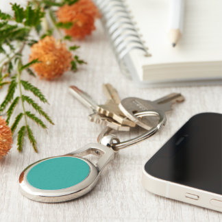 Blue/Green color Silver-Colored Oval Metal Keychain