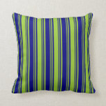 [ Thumbnail: Blue & Green Colored Lines/Stripes Pattern Pillow ]