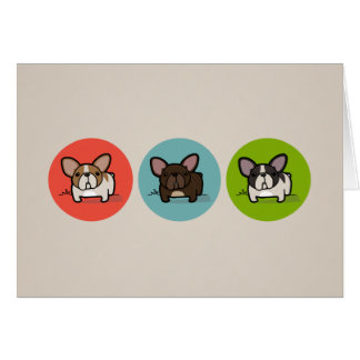 Blue, Green & Coral Frenchie Greeting Cards