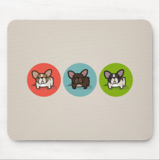 Blue, Green & Coral Frenchie Mouse Pad