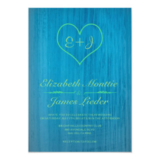 Blue & Green Country Wedding Invitations