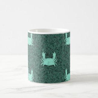 Blue Green Crab Pattern Coffee Mug