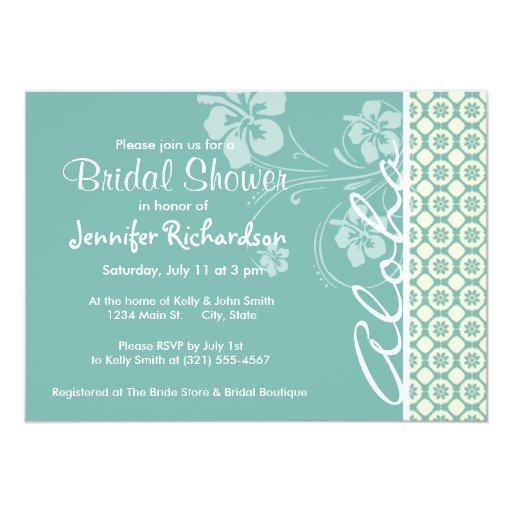 Blue-Green & Cream Floral; Aloha Custom Invite