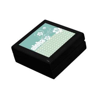 Blue-Green & Cream Floral; Aloha Trinket Boxes