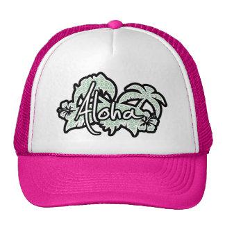 Blue-Green & Cream Floral; Aloha Mesh Hats