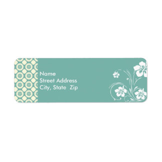 Blue-Green & Cream Floral; Aloha Label