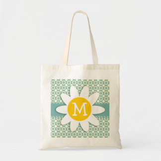 Blue-Green & Cream Floral; Daisy Budget Tote Bag