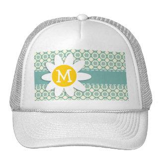 Blue-Green & Cream Floral; Daisy Hat