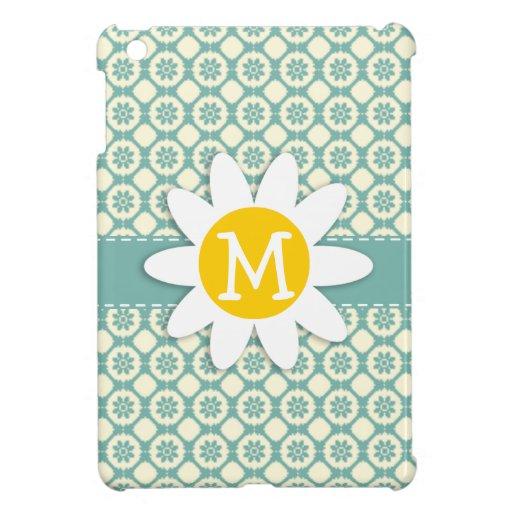 Blue-Green & Cream Floral; Daisy iPad Mini Cases