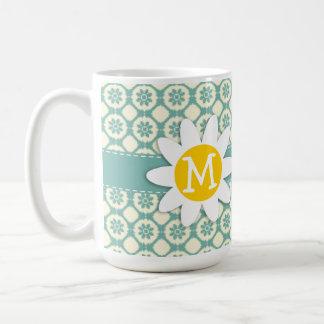 Blue-Green & Cream Floral; Daisy Mugs