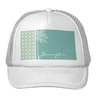 Blue-Green & Cream Floral Trucker Hats