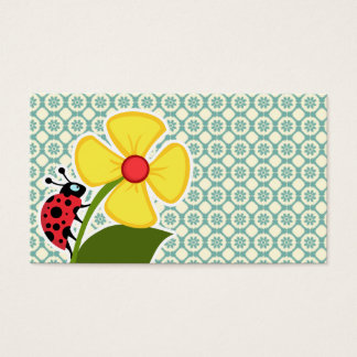 Blue-Green & Cream Floral; Ladybug Business Card
