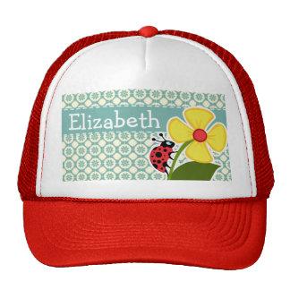Blue-Green & Cream Floral; Ladybug Hat