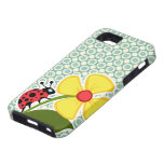 Blue-Green & Cream Floral; Ladybug iPhone 5 Covers