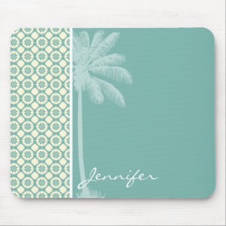Blue-Green & Cream Floral Mouse Pad
