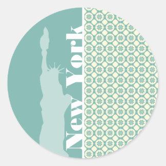 Blue-Green & Cream Floral; New York Classic Round Sticker