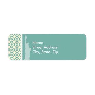 Blue-Green & Cream Floral; New York Label