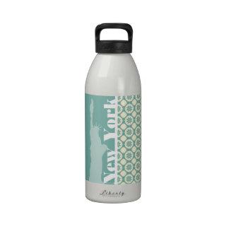 Blue-Green & Cream Floral; New York Reusable Water Bottle