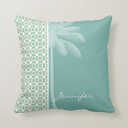 Blue-Green & Cream Floral Throw Pillow