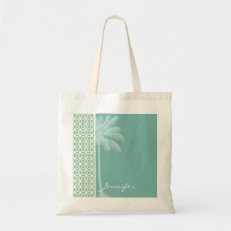 Blue-Green & Cream Floral Tote Bags