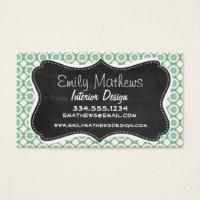 Blue-Green & Cream Floral; Vintage Chalkboard Business Card