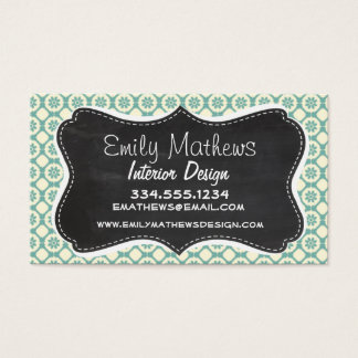 Blue-Green & Cream Floral; Vintage Chalkboard Business Card