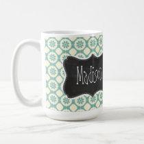 Blue-Green & Cream Floral; Vintage Chalkboard Coffee Mug