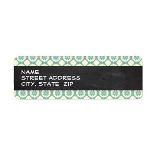 Blue-Green & Cream Floral; Vintage Chalkboard Labels