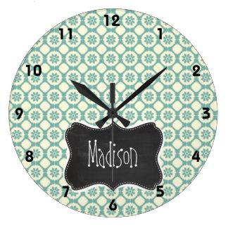 Blue-Green & Cream Floral; Vintage Chalkboard Large Clock