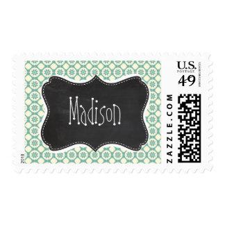 Blue-Green & Cream Floral; Vintage Chalkboard Postage Stamps