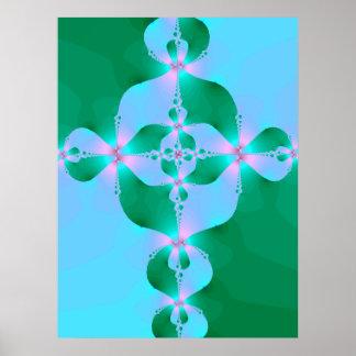 Blue Green Cross Poster