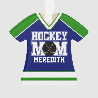 Blue/Green Custom Hockey Mom Jersey Ornament