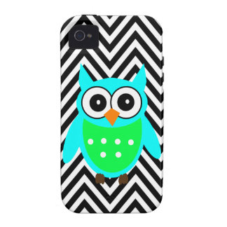 Blue Green Cute Owl Black Chevron Pattern iPhone 4 Case